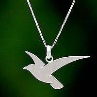Sterling silver pendant necklace, 'Flying Martin' - Flying Martin Bird Sterling Silver Necklace from Thailand