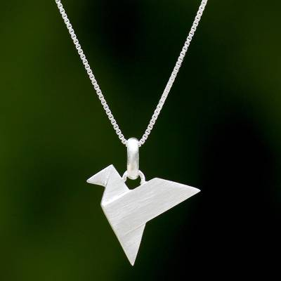 Sterling silver pendant necklace, 'Origami Flight' - Origami Bird Sterling Silver Pendant Necklace from Thailand