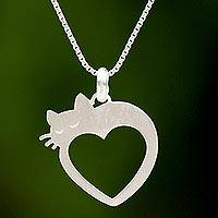 Sterling silver heart pendant necklace, 'Lovestruck Cat' - Cat and Heart Thai 925 Sterling Silver Pendant Necklace