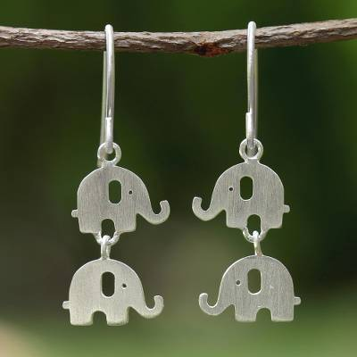 Sterling silver dangle earrings, 'Dangling Elephants' - Handmade Thai 925 Sterling Silver Elephant Hook Earrings