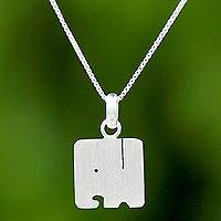 Sterling silver pendant necklace, 'Box Elephant' - Thai Sterling Silver Square Elephant Pendant Necklace