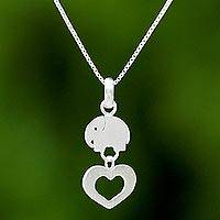 Sterling silver pendant necklace, 'Loving Elephant' - Thai Sterling Silver Elephant Heart Pendant Necklace