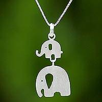 Sterling silver pendant necklace, 'Mom and Son Elephants' - Thai Sterling Silver Pendant Necklace with Two Elephants