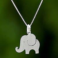 Sterling silver pendant necklace, 'Elephant Friend' - Thai Sterling Silver Pendant Necklace of a Friendly Elephant