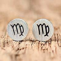 Sterling silver stud earrings, 'Satin Virgo' - Sterling Silver Virgo Stud Earrings from Thailand