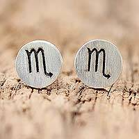 Sterling silver stud earrings, 'Satin Scorpio' - Sterling Silver Scorpio Stud Earrings from Thailand
