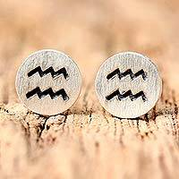 Sterling silver stud earrings,
