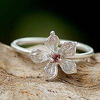 Tourmaline cocktail ring, 'Pink Winter Bloom' - Thai Tourmaline and Sterling Silver Floral Cocktail Ring