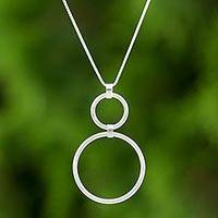 Sterling silver pendant necklace, 'Cycles' - Sterling Silver Circles Pendant Necklace from Thailand