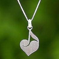Sterling silver heart pendant necklace, 'Music of the Heart' - Sterling Silver Heart Shaped Pendant Necklace from Thailand