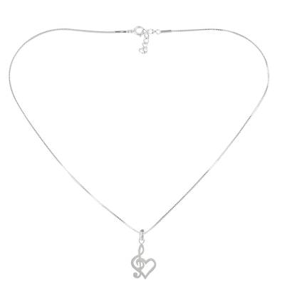 Sterling silver heart pendant necklace, 'Lovely Melody' - Sterling Silver Treble Clef Heart Pendant Necklace Thailand