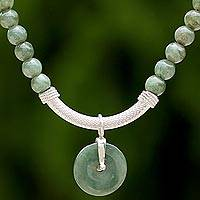 Jade beaded pendant necklace, 'Green Royalty' - Jade and Sterling Silver Beaded Pendant Necklace Thailand