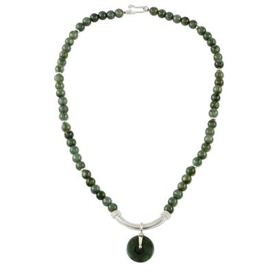 Jade and Sterling Silver Beaded Pendant Necklace Thailand