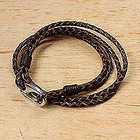 Leather wrap bracelet, 'Braided Friendship in Sable' - Sable Braided Leather Cord Bracelet from Thailand
