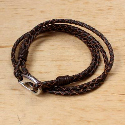 Leather wrap bracelet, Braided Friendship in Sable