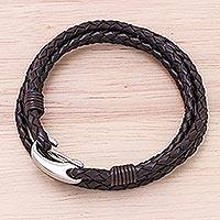 Leather wrap bracelet, 'Braided Friendship in Black' - Black Braided Leather Wrap Bracelet from Thailand