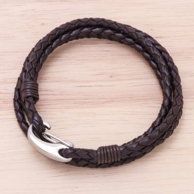 Leather wrap bracelet, 'Braided Friendship in Coffee' - Brown Braided Leather Wrap Bracelet from Thailand