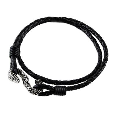 Black Leather Wrap Bracelet with Snake Pendant Thailand
