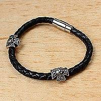 Men's braided leather bracelet, 'Midnight Rays' - Men's Braided Leather Bracelet with Stainless Steel Accents