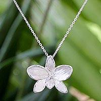 Sterling silver pendant necklace, 'Silver Snow Orchid' - Hand Crafted Thai Sterling Silver Orchid Pendant Necklace
