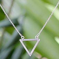 Sterling silver pendant necklace, 'The Art of Minimalism' - Sterling Silver Triangular Pendant Necklace from Thailand