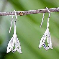 Sterling silver drop earrings, 'Flower Fall' - Sterling Silver Drop Earrings from Thailand