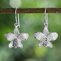 Amethyst dangle earrings, 'Snow Orchid' - Sterling Silver Amethyst Thai Orchid Flower Dangle Earrings