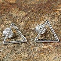 Sterling silver button earrings, 'Minimalist Triangle' - Sterling Silver Triangle Button Earrings Made in Thailand