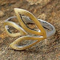 Gold accent wrap ring, Golden Light on Leaves - Sterling Silver and Gold Accent Wrap Ring from Thailand