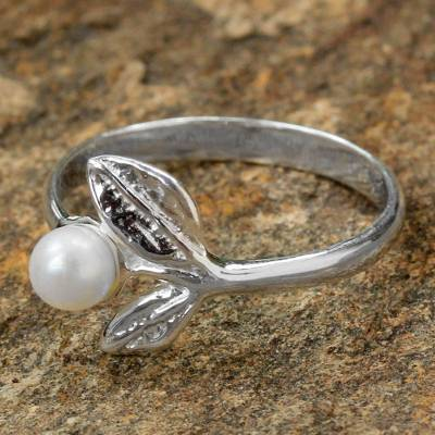 Sterling Silver and Cultured Pearl Leaf Ring from Thailand