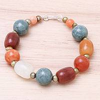 Jade and cultured pearl beaded bracelet, 'Mercy and Love' - Colorful Thai Jade and Cultured Pearl Beaded Bracelet