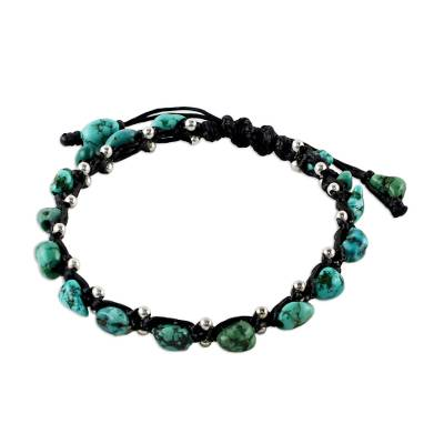 Thai Jewelry Braided Bracelet Turquoise Color 925 Silver