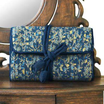 Rayon and silk blend jewelry roll, 'Blue Floral Journey' - Blue Floral Rayon Silk Blend Jewelry Roll Thailand