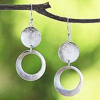 Sterling silver dangle earrings, 'Argent Shimmering Moon' - Thai 925 Jewelry Sterling Silver Circular Dangle Earrings