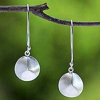 Sterling silver dangle earrings, 'Argent Thai Shimmer' - Artisan Jewelry Modern 925 Sterling Silver Hook Earrings