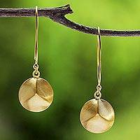 Gold plated dangle earrings, 'Golden Thai Shimmer' - Thai Artisan Jewelry Modern 18k Gold Plated Hook Earrings