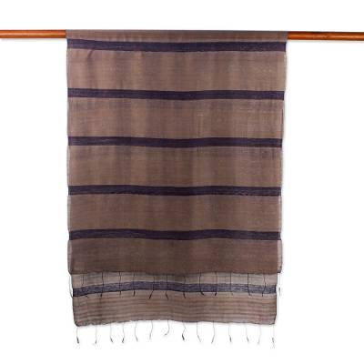 Silk and cotton blend scarf, 'Friendly Stripes' - Hand Woven Silk and Cotton Striped Scarf from Thailand