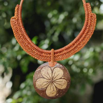 Coconut shell and leather flower pendant necklace, 'Rustic Frangipani' - Thai Leather and Coconut Shell Floral Handmade Necklace