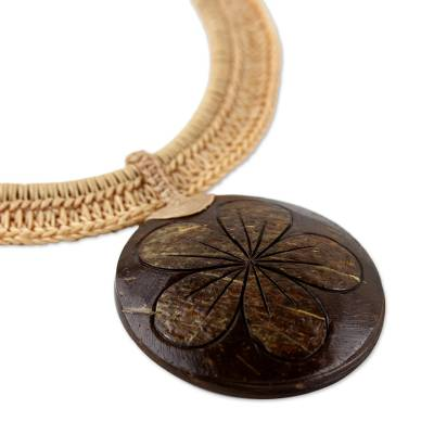 Coconut shell and leather statement necklace, 'Rustic Frangipani in Beige' - Beige Leather and Coconut Shell Floral Statement Necklace