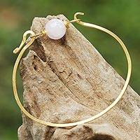 Gold plated rose quartz pendant bracelet, 'Always Lucky' - Gold Plated Rose Quartz Pendant Bracelet from Thailand