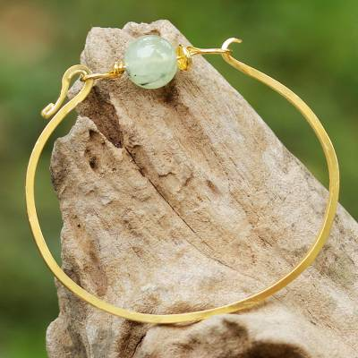 Gold plated prehnite pendant bracelet, 'Always Lucky' - Gold Plated Prehnite Pendant Bracelet from Thailand