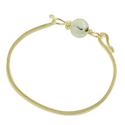 Gold Plated Prehnite Pendant Bracelet from Thailand