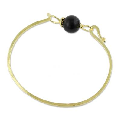 Gold Plated Onyx Pendant Bracelet from Thailand