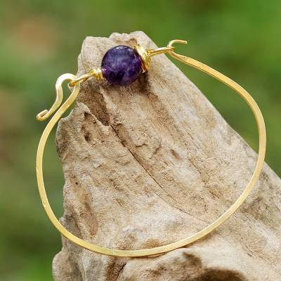 Gold plated amethyst pendant bracelet, 'Always Lucky' - Gold Plated Amethyst Pendant Bracelet from Thailand