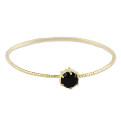 Gold Plated Black Onyx Bangle Pendant Bracelet from Thailand