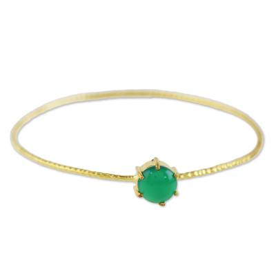 Gold Plated Green Onyx Bangle Pendant Bracelet from Thailand