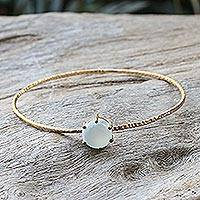 Gold plated chalcedony bangle bracelet, 'Meteor' - Thai Gold Plated Blue Chalcedony Bangle Pendant Bracelet