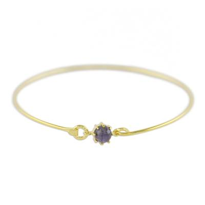 Gold Plated Iolite Bangle Bracelet from Thailand