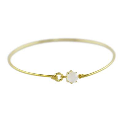 Gold Plated Moonstone Bangle Bracelet from Thailand