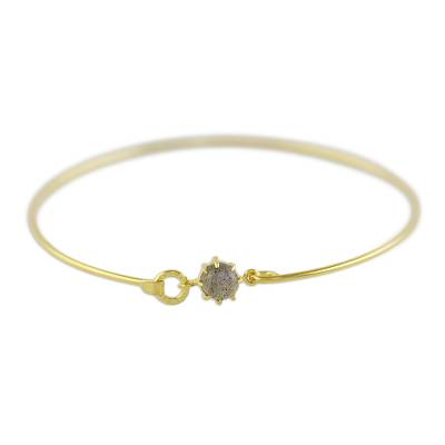 Gold Plated Labradorite Bangle Bracelet from Thailand